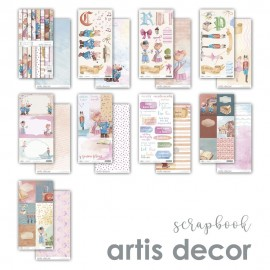 COLECCION PAPEL SCRAP 12X12''+12X6'' ARTIS DECOR ''Y FUERON FELICES''